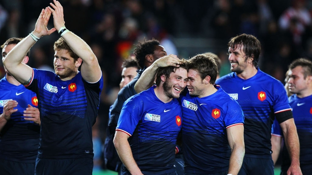 England 12-19 France - The French players celebrate their RWC quarter-final win