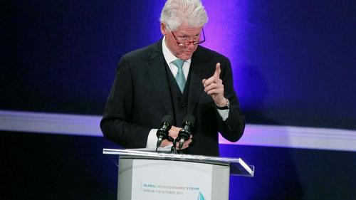 Bill Clinton addressing the Global Irish Economic Forum at Dublin Castle