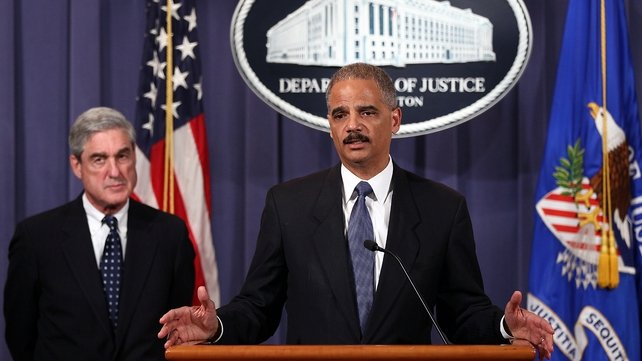 US Attorney General Eric Holder speaking to the media this evening