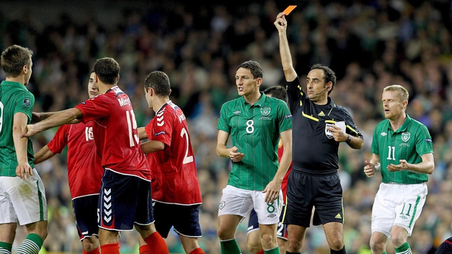 Kevin Doyle saw red for the first time for Ireland as they won 2-1