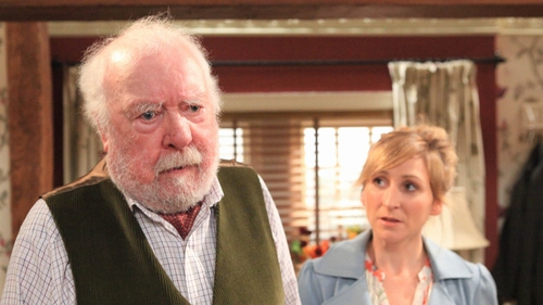 Freddie Jones as Sandy Thomas and Charlotte Bellamy as Laurel Thomas in Emmerdale Photo: ITV
