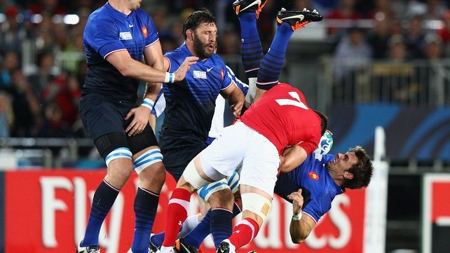 Sam Warburton tackles Vincent Clerc - The Wales captain was red carded