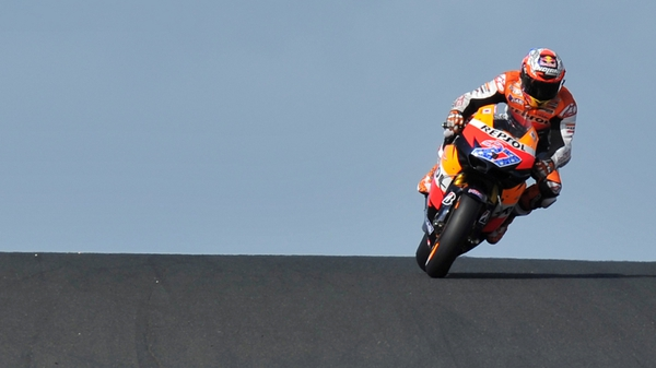 Casey Stoner in action during today's event