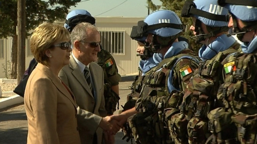 President Mary McAleese and Martin McAleese met Irish peacekeepers