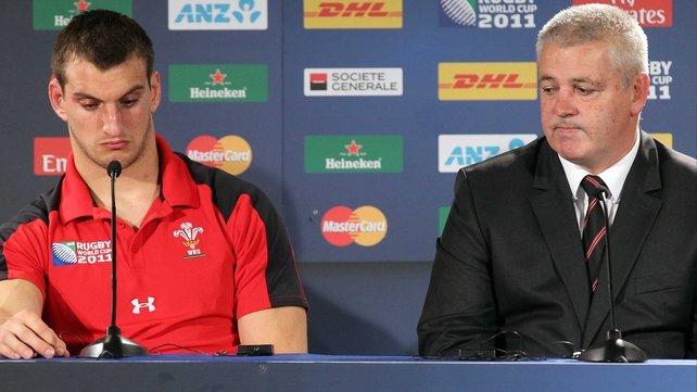 Dejected - Sam Warburton and Warren Gatland face the media after Wales' defeat by France