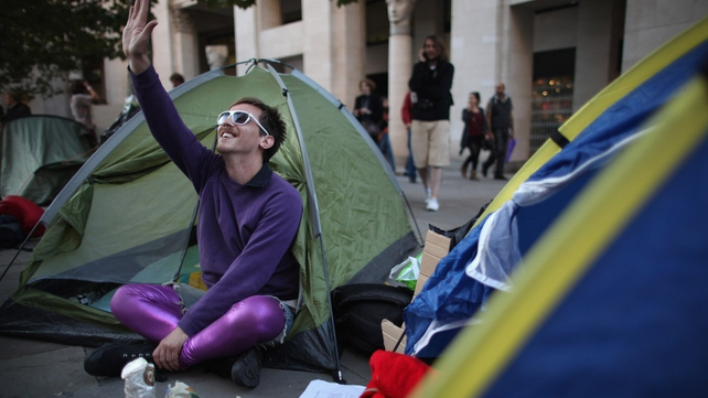 Protesters spend second night outside St Paul's Cathedral, London