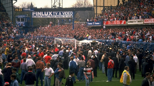 96 football fans died in the Hillsborough disaster on 15 April 1989