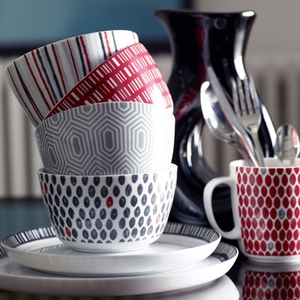 House of Fraser Spot red mug €6, Stripe/Grid/Hex Bowls €7, Side Plate €7 and Dinner Plate €8