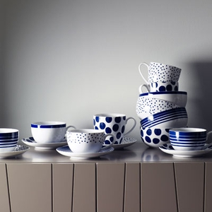 Teacup and saucer €7, Bowls €6 each, mugs €5 each (Spot, Stripe, Dot and Original) available from Linea, House of Fraser