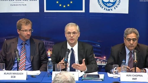 The troika presented the findings of its latest review this afternoon
