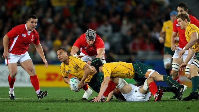 Wales v Australia - Quade Cooper is tackled