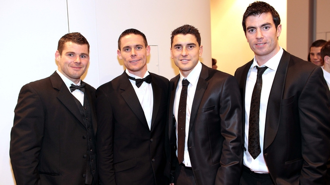 Dublin's Kevin McMenamon, Stephen Cluxton, Bernard Brogan and Michael Darragh at the ceremony