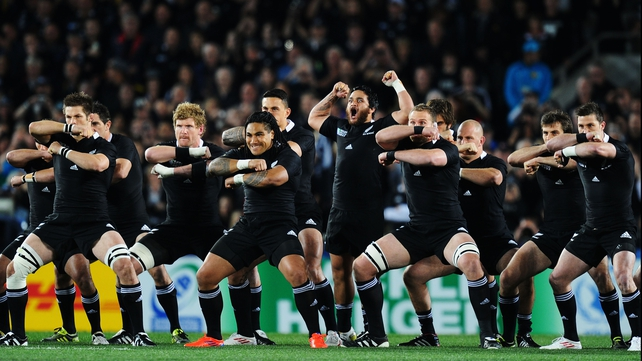 France advanced on the New Zealand haka prior to the Rugby World Cup final