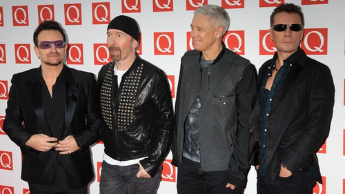 U2 at the Q Awards earlier this afternoon