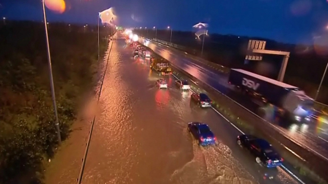 Flooding on the M7 on Monday night