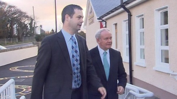 Martin McGuinness, who is unable to vote, accompanied party colleague Pearse Doherty to the polling station in Bunbeg in Donegal
