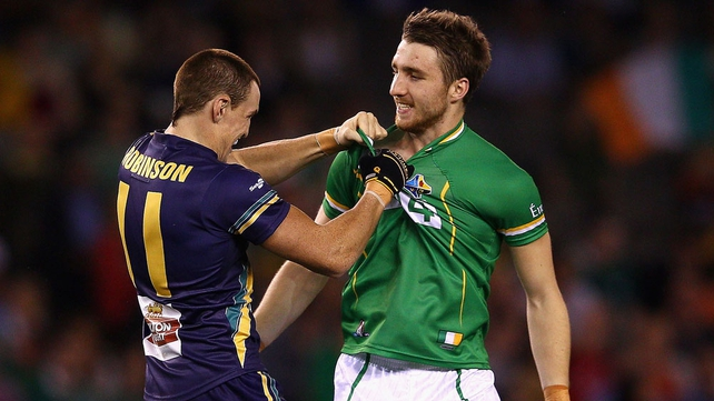 Zac Tuohy gets a jersey-swap request from Mitch Robinson
