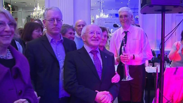 Michael D Higgins attends party for his campaign team