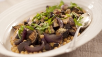 Chickpea and Aubergine Salad - A healthy vegetarian salad, perfect as a starter for your Middle Eastern meal