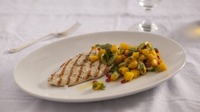Pan-fried chicken with mango salsa - A great main, the sweet, salt and sour work so well together