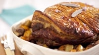 Slow roast shoulder of pork - Serves with seasonal veggies to make a fast and easy Sunday main