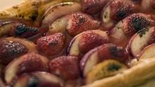 Strawberry and nectarine tart