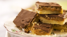 Chocolate, toffee and peanut squares