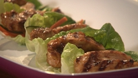 Sticky Chicken with Cucumber, Radish and Carrot Pickle - To serve, place a lettuce leaf on your plate, top with the pickled vegetables and chicken. Fold over the lettuce and enjoy.