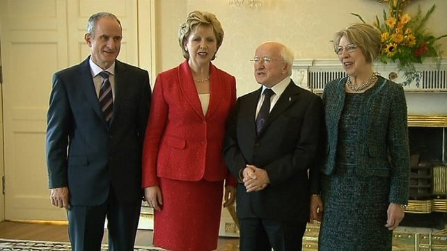 Last meeting between Michael D Higgins and Mary McAleese before inauguration