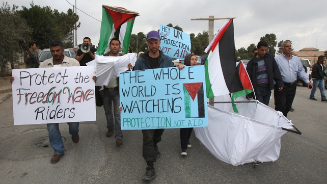 Palestinians protest outside UN offices in Ramallah