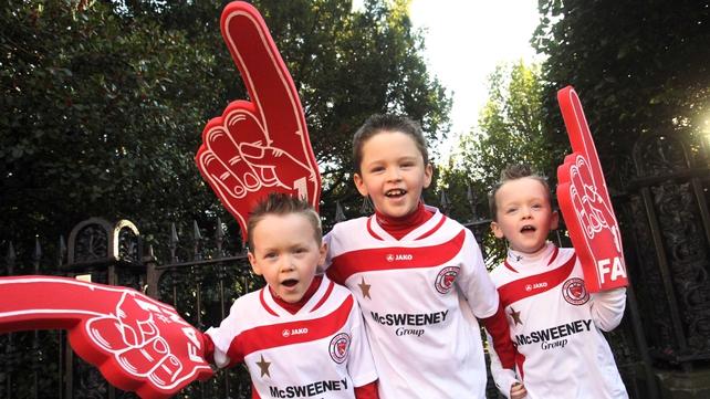 Sligo Rovers fans Jamie, Matthew and Ryan Maher