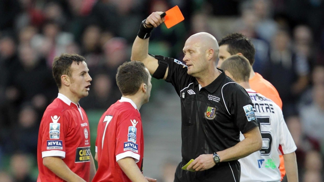 Referee Richie Winter ruins Barry Clancy's Cup final with a harsh second yellow card for simulation
