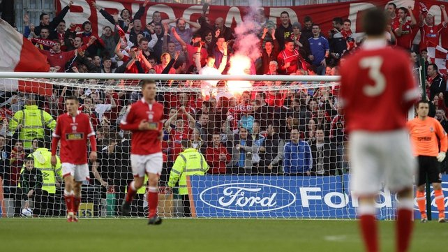Shelbourne supporters celebrate the opening goal on the 2011 FAI Ford Cup final
