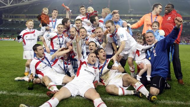 Sligo Rovers celebrate on the Aviva turf