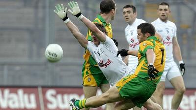 Kevin Cassidy kicks the winning point v Kildare