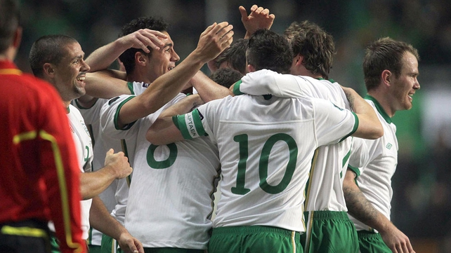 Ireland celebrate a priceless away goal and a 1-0 lead