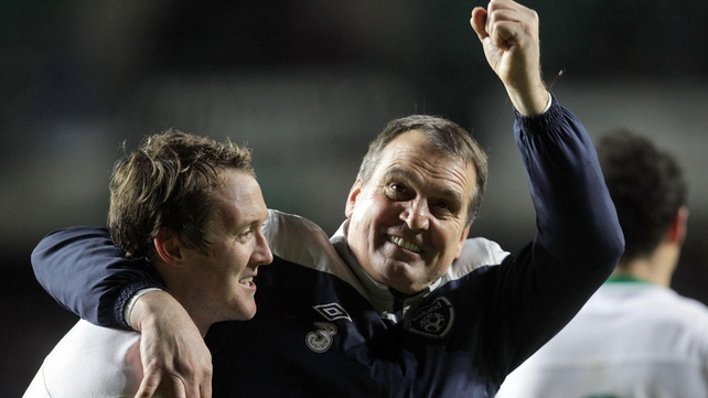 Marco Tardelli and Aiden McGeady show their delight