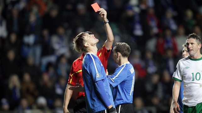 Bad to worse for Estonia. Down to 9 men in the 76th minute as Raio Piiroja gets his marching orders