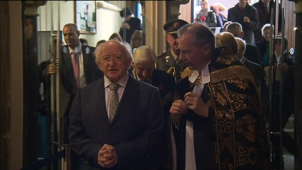 Michael D Higgins attends annual Remembrance Day Service in Dublin