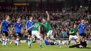 Stephen Ward scored against Estonia in the second leg of the Euro 2012 qualification play-off