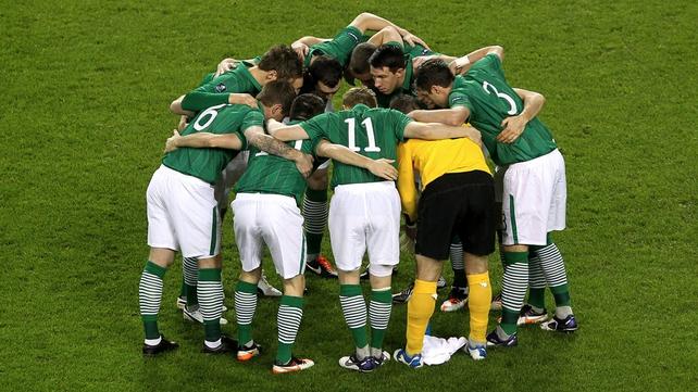 The Irish team focus on the task ahead