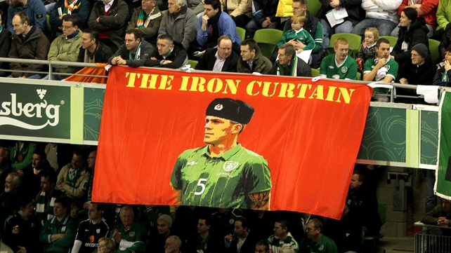 The Irish fans unfurl a banner paying homage to Richard Dunne...
