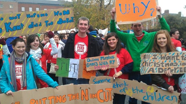 Students from Mary I at the protest (Pic: Mary Immaculate Students' Union)