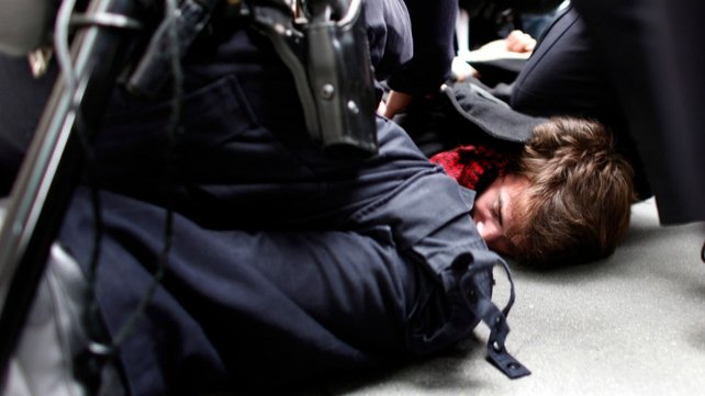 A protester is arrested close to Zuccotti Park in Manhattan