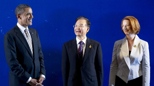 Barack Obama with Chinese Premier Wen Jiabao and Australian PM Julia Gillard
