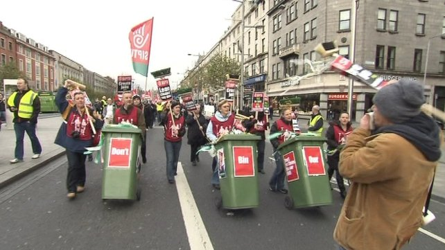 Protesters call for a reversal of the austerity planned