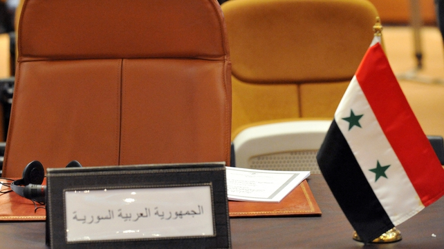 The empty chair of Syria is pictured during a meeting of Arab nations earlier this month