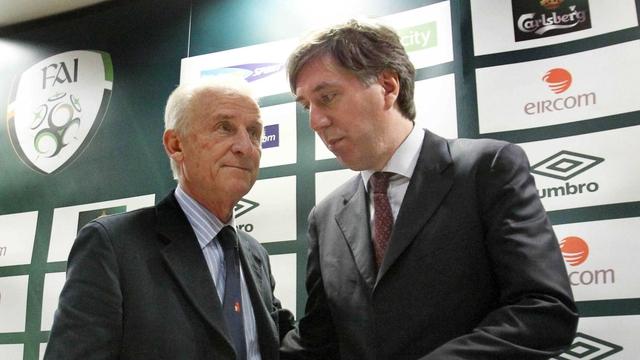 Giovanni Trapattoni with FAI chief executive John Delaney