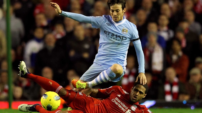 Man City were looking to stay in touch with rivals Man United who sit nine points clear at the top of the table