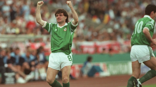 Ray Houghton celebrating his goal against England